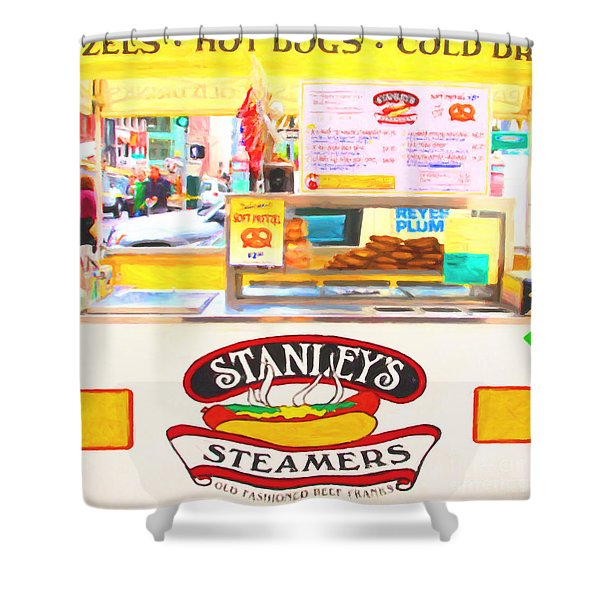 San Francisco - Stanley's Steamers Hot Dog Stand - 5D17929 - Square - Painterly Shower Curtain by Wingsdomain Art and Photography