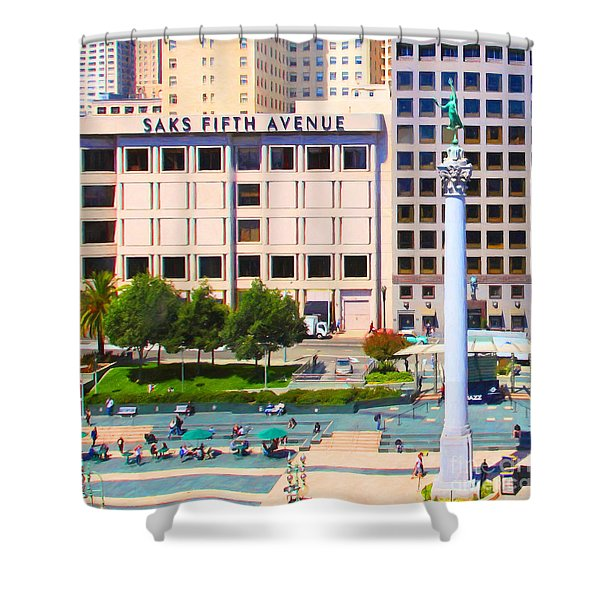 San Francisco - Union Square - 5D17938 - Square - Painterly Shower Curtain by Wingsdomain Art and Photography