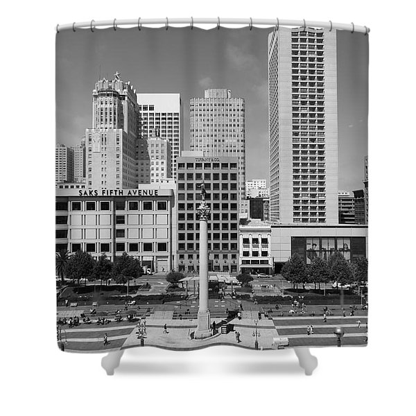 San Francisco - Union Square - 5D17941 - black and white Shower Curtain by Wingsdomain Art and Photography