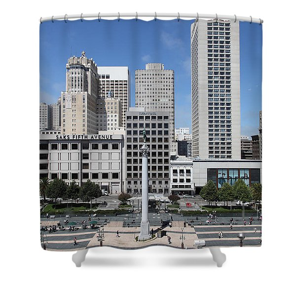 San Francisco - Union Square - 5D17941 Shower Curtain by Wingsdomain Art and Photography