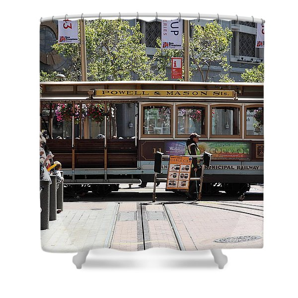 San Francisco Cable Car At The Powell Street Cable Car Turnaround - 5d17968 Shower Curtain by Wingsdomain Art and Photography