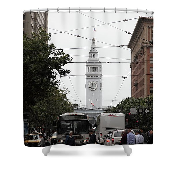 San Francisco Ferry Building at End of Market Street - 5D17863 Shower Curtain by Wingsdomain Art and Photography