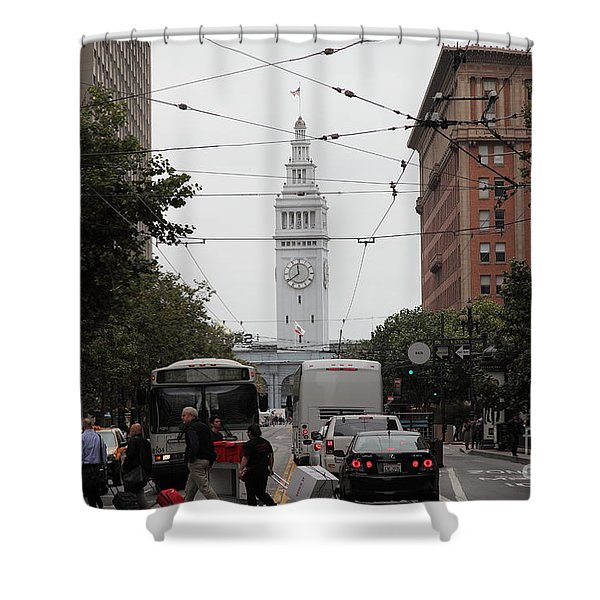 San Francisco Ferry Building at End of Market Street - 5D17865 Shower Curtain by Wingsdomain Art and Photography