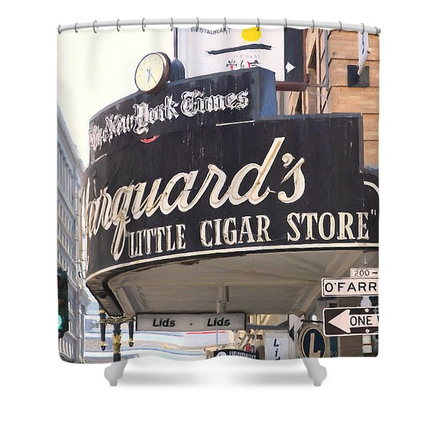 San Francisco Marquard's Little Cigar Store On Powell And O'farrell Streets - 5d17954 - Painterly Shower Curtain by Wingsdomain Art and Photography