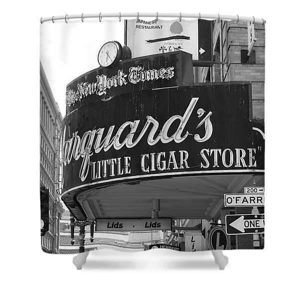 San Francisco Marquard's Little Cigar Store Powell and O'Farrell Streets - 5D17954 - black and white Shower Curtain by Wingsdomain Art and Photography
