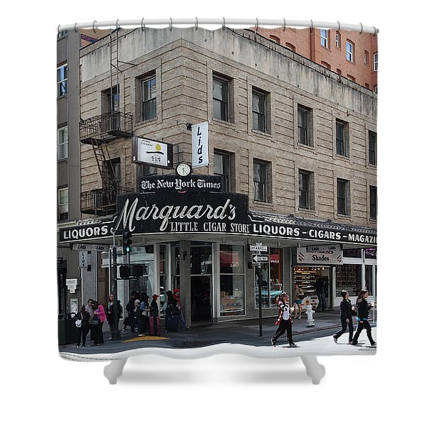 San Francisco Marquards Little Cigar Store Powell Street - 5D17950 Shower Curtain by Wingsdomain Art and Photography