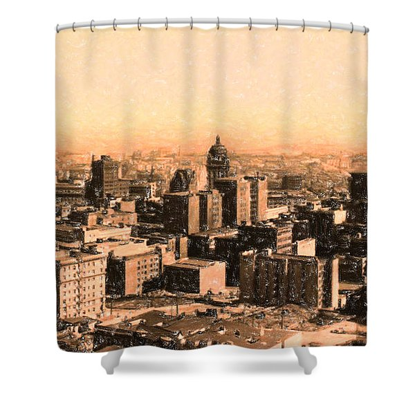 San Francisco Skyline 1909 Showing South Of Market Street Shower Curtain by Wingsdomain Art and Photography
