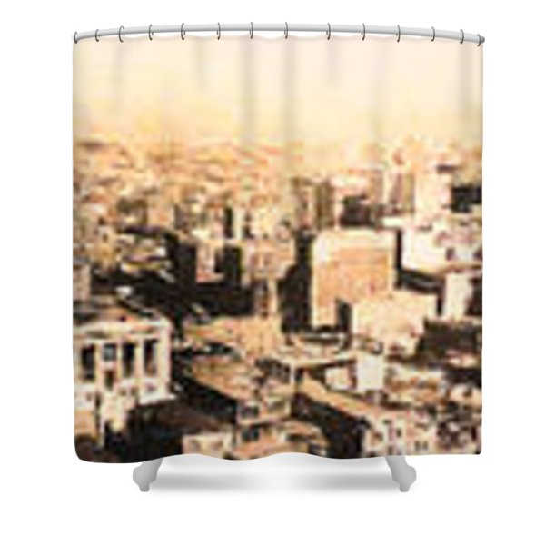 San Francisco Skyline Panorama 1909 From The Ferry Building Through South of Market Shower Curtain by Wingsdomain Art and Photography
