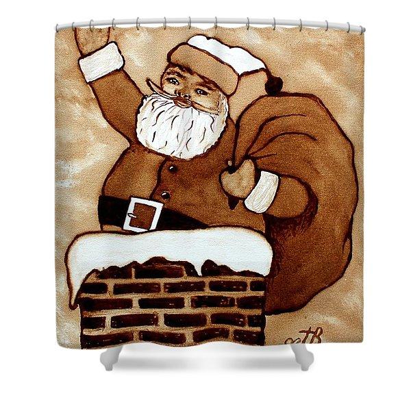Santa Claus Gifts Original Coffee Painting Shower Curtain by Georgeta  Blanaru