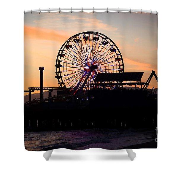 Santa Monica Pier Ferris Wheel Sunset Shower Curtain by Paul Velgos