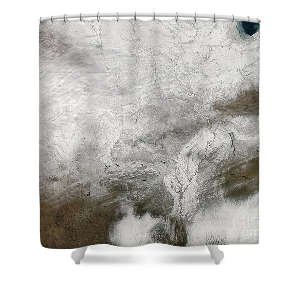 Satellite View Of A Severe Winter Storm Shower Curtain by Stocktrek Images