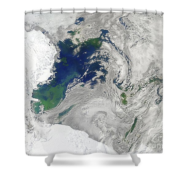 Satellite View Of The Ross Sea Shower Curtain by Stocktrek Images