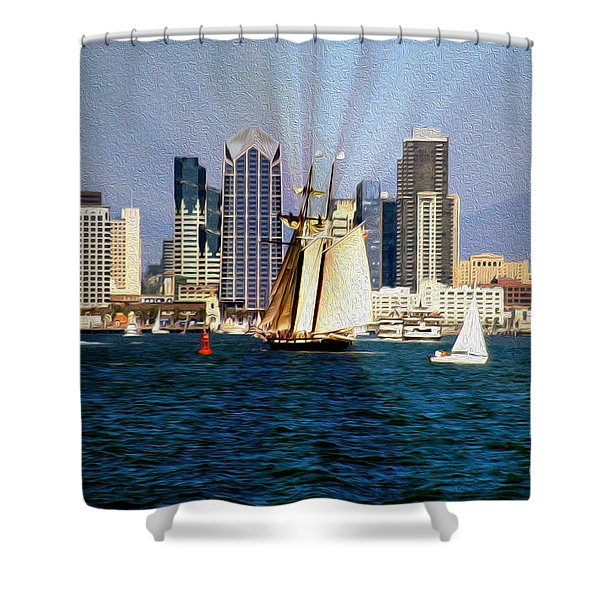 Saturday in San Diego Bay Shower Curtain by Cheryl Young