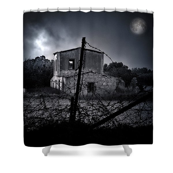 Scary House Shower Curtain by Stylianos Kleanthous