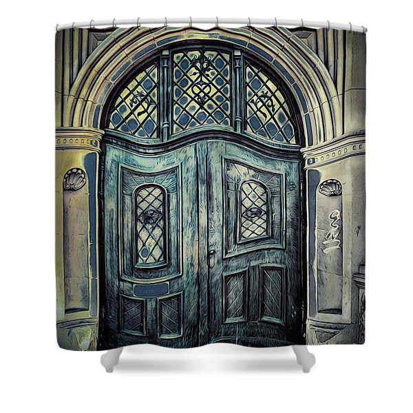 Schoolhouse Entrance Shower Curtain by Jutta Maria Pusl