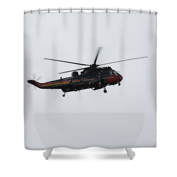 Sea King Helicopter Of The Belgian Army Shower Curtain by Luc De Jaeger