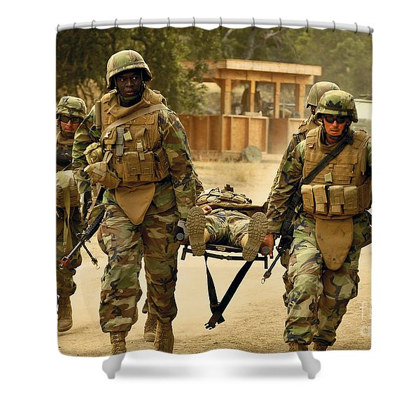 Seabees Conduct A Mass Casualty Drill Shower Curtain by Stocktrek Images