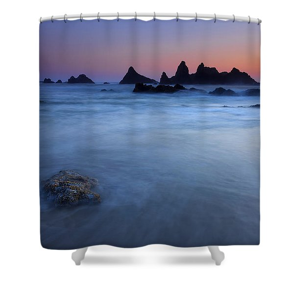 Seal Rock Dusk Shower Curtain by Mike  Dawson