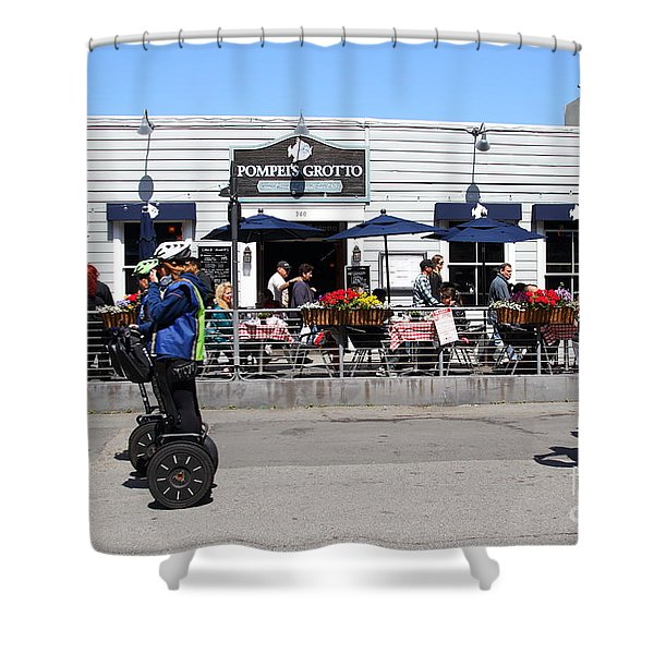 Segway Patrol At Pompeis Grotto Restaurant . Fishermans Wharf . San Francisco California . 7d14198 Shower Curtain by Wingsdomain Art and Photography
