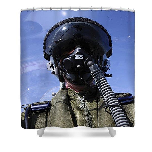 Self-portrait Of A Pilot Flying Shower Curtain by Daniel Karlsson