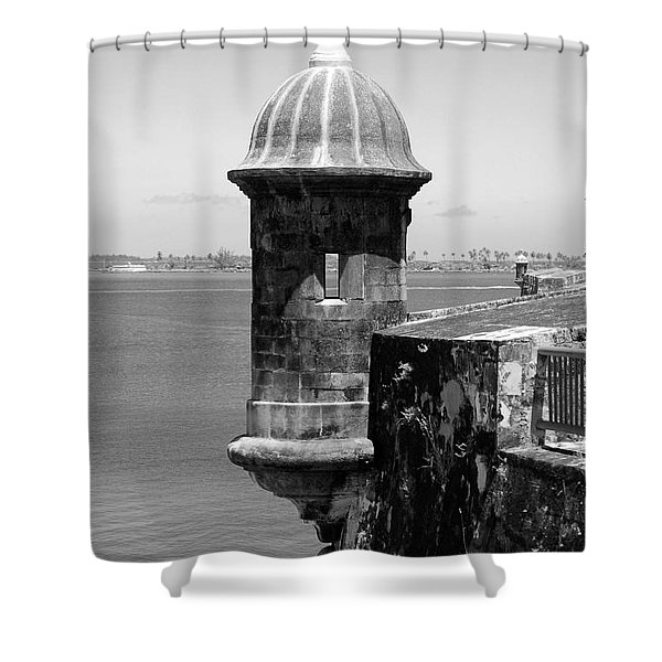 Sentry Tower Castillo San Felipe Del Morro Fortress San Juan Puerto Rico Black And White Shower Curtain by Shawn O'Brien