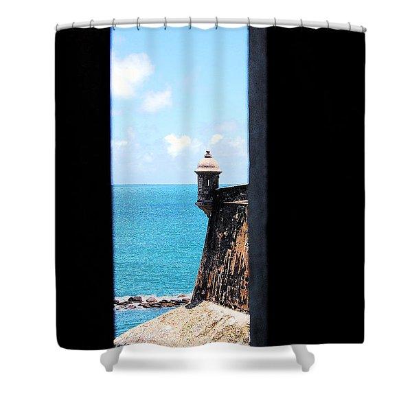 Sentry Tower View Castillo San Felipe Del Morro San Juan Puerto Rico Ink Outlines Shower Curtain by Shawn O'Brien