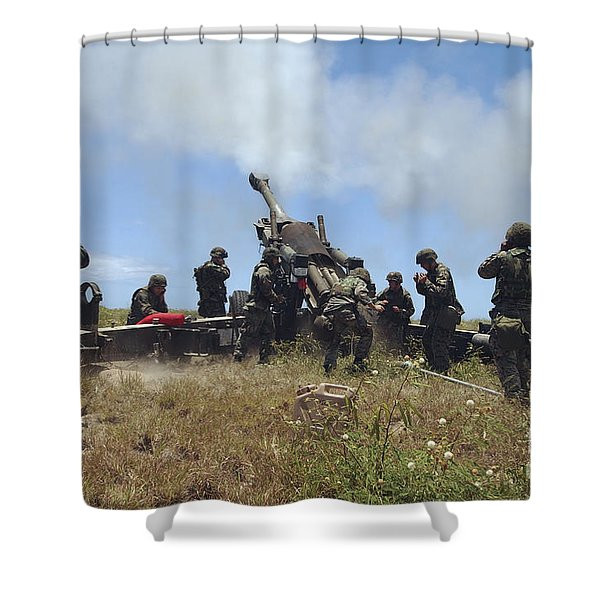 Smoke Fills The Air As Marines Fire Shower Curtain by Stocktrek Images