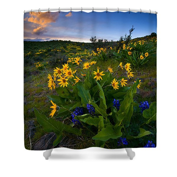 Snow Mountain Sunset Shower Curtain by Mike  Dawson