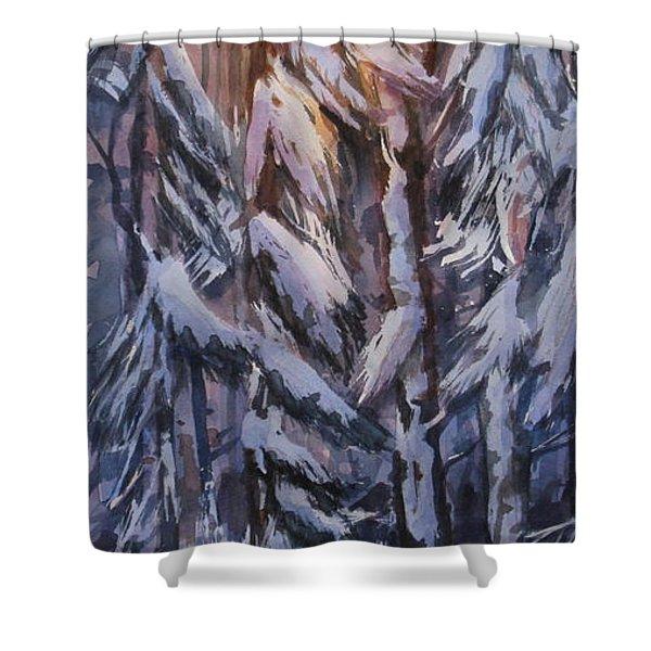 Snow Splattered 1 Shower Curtain by Mohamed Hirji