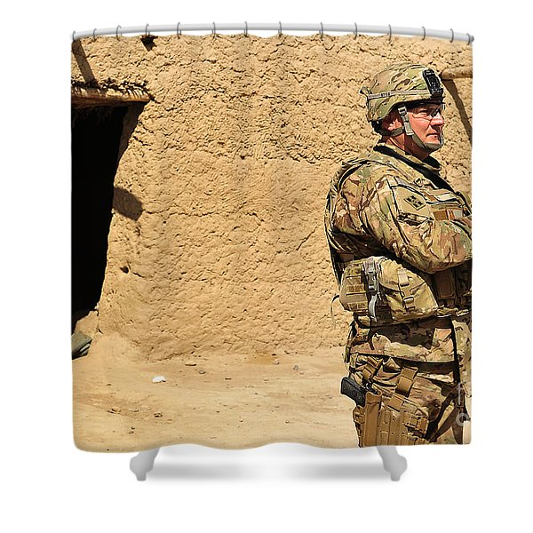 Soldier Stands Guard During A Routine Shower Curtain by Stocktrek Images
