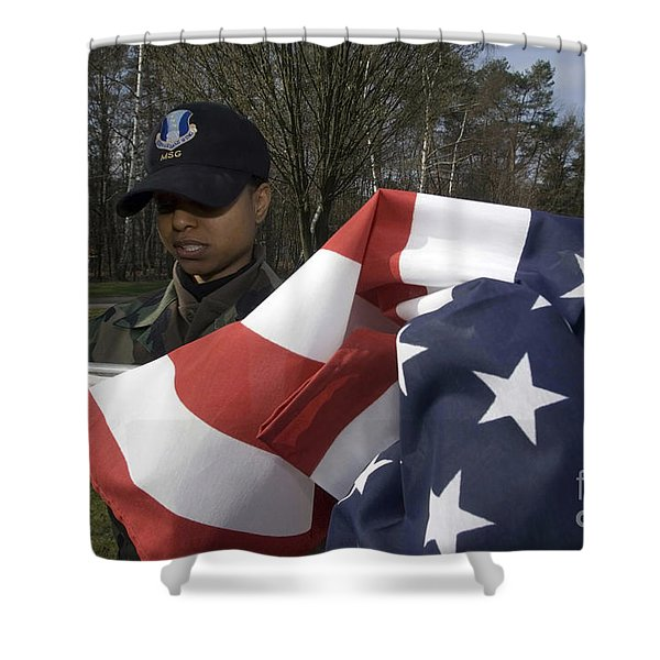 Soldier Unfurls A New Flag For Posting Shower Curtain by Stocktrek Images