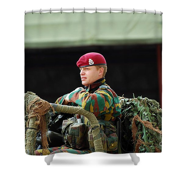 Soldiers Of A Belgian Recce Or Scout Shower Curtain by Luc De Jaeger