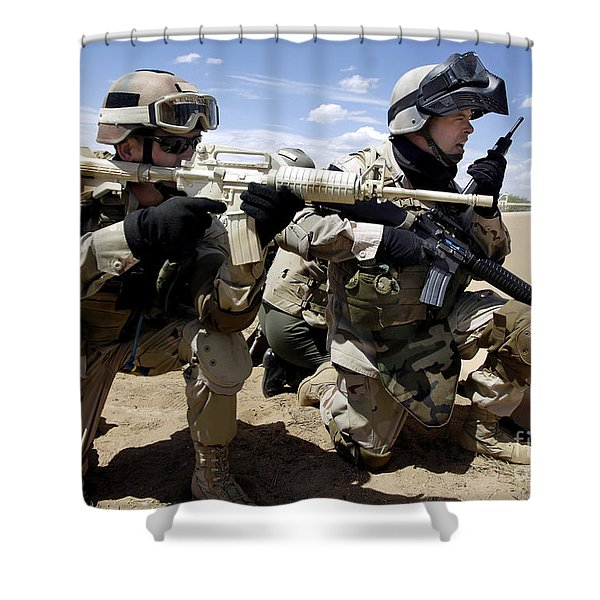 Soldiers Respond To A Threat Shower Curtain by Stocktrek Images