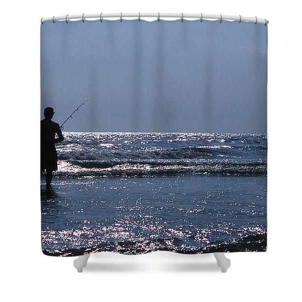 SOLITARY ANGLER Shower Curtain by Skip Willits