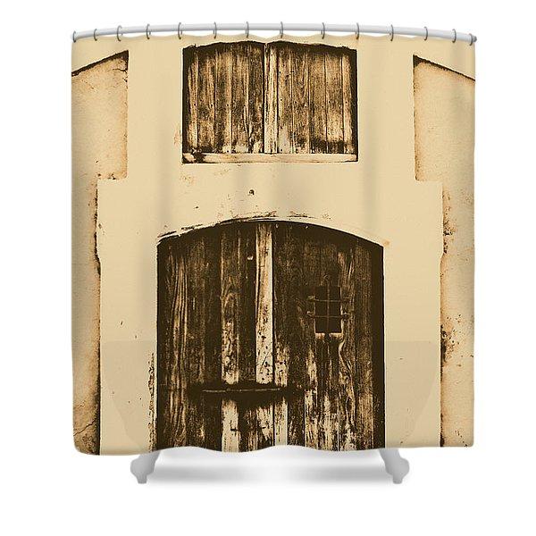 Spanish Fort Door Castillo San Felipe Del Morro San Juan Puerto Rico Prints Rustic Shower Curtain by Shawn O'Brien