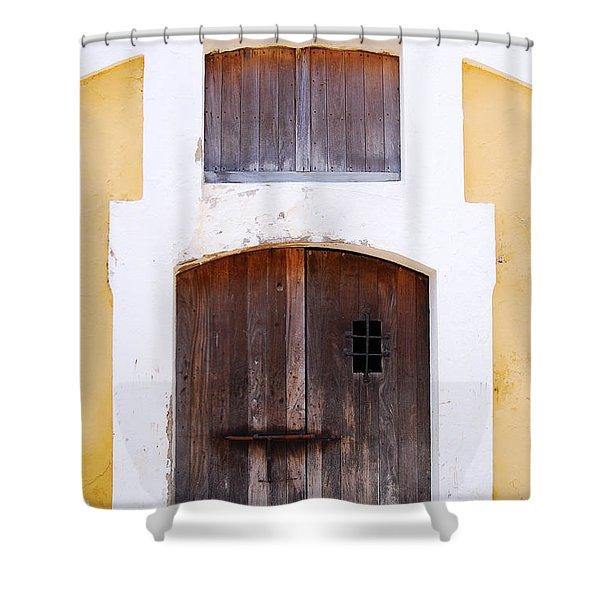Spanish Fort Door Castillo San Felipe Del Morro San Juan Puerto Rico Prints Shower Curtain by Shawn O'Brien