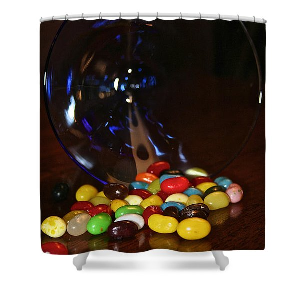 Spilled Beans Shower Curtain by Susan Herber