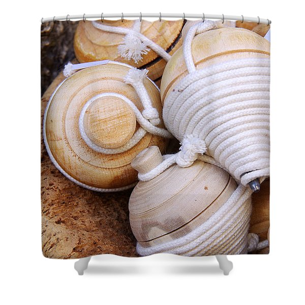 Spinning Tops Shower Curtain by Carlos Caetano