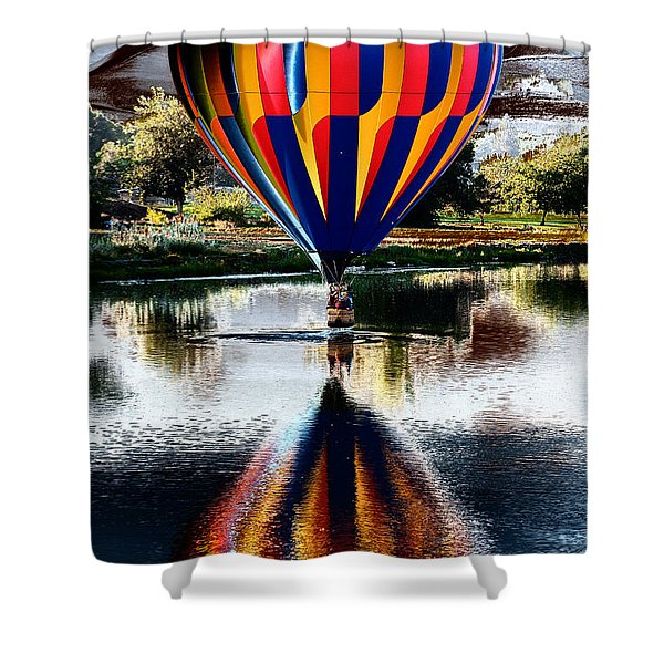 Splash And Dash With A Hot Air Balloon Shower Curtain by David Patterson