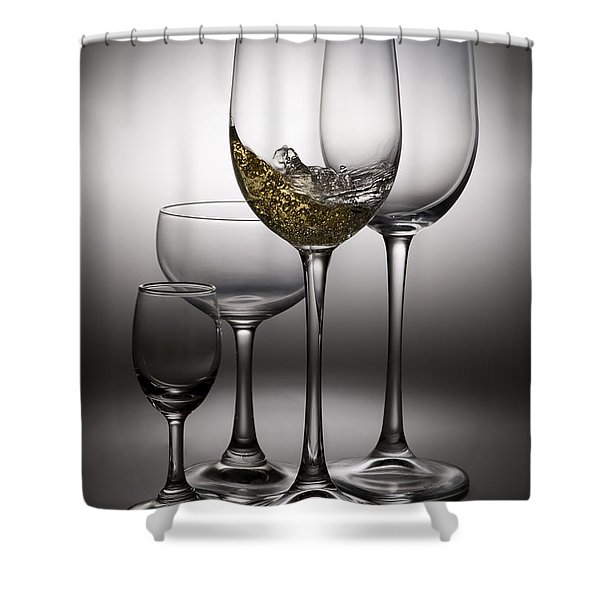 splashing wine in wine glasses Shower Curtain by Setsiri Silapasuwanchai