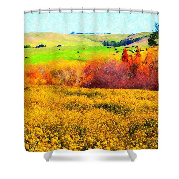 Springtime In The Golden Hills . 7D12402 Shower Curtain by Wingsdomain Art and Photography