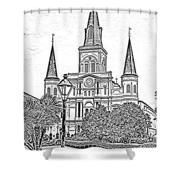 St Louis Cathedral Jackson Square French Quarter New Orleans Photocopy Digital Art Shower Curtain by Shawn O'Brien
