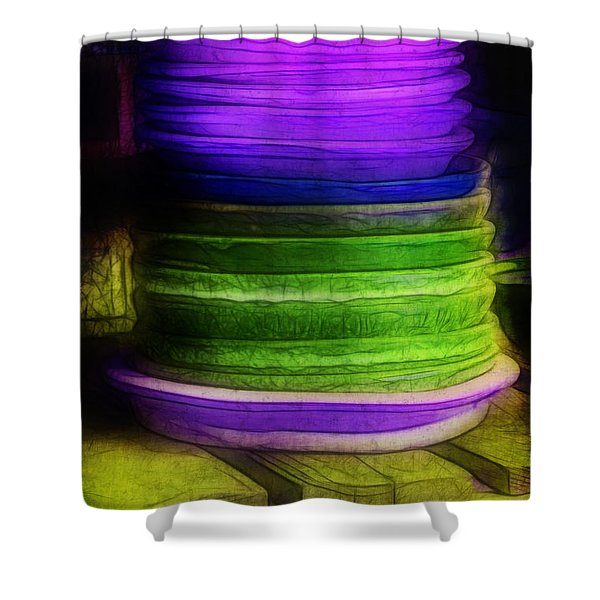 Stack of Saucers Shower Curtain by Judi Bagwell