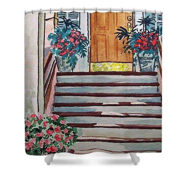 Stairs Sketchbook Project Down My Street Shower Curtain by Irina Sztukowski