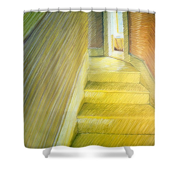 Stairwell In Malden Apartment 1978 Shower Curtain by Nancy Griswold