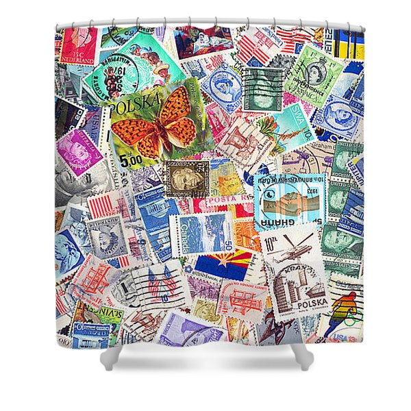 Stamp Collection . 2 To 1 Proportion Shower Curtain by Wingsdomain Art and Photography