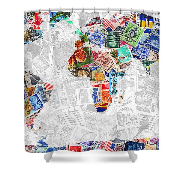 Stamps Of The World Map . V2 Shower Curtain by Wingsdomain Art and Photography