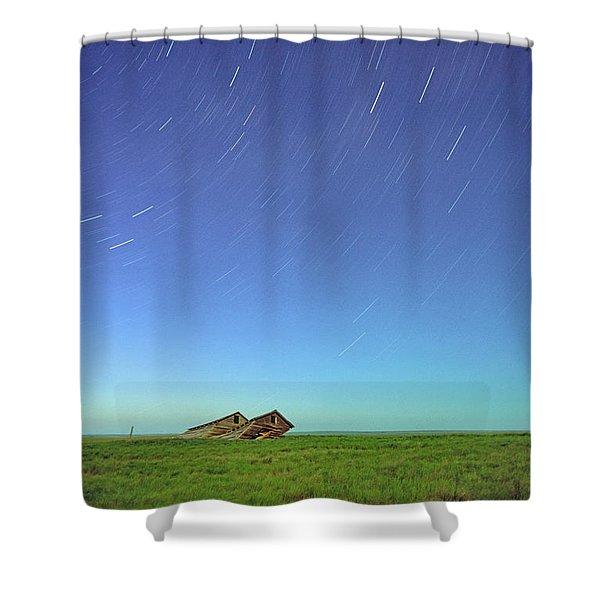 Star Trails Over Old Barns, Saskatchewan Shower Curtain by Robert Postma