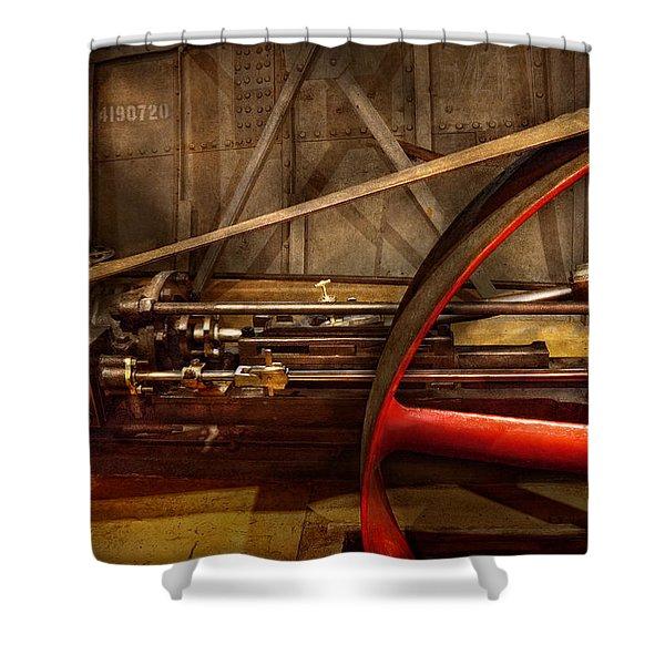 Steampunk - Machine - The wheel works Shower Curtain by Mike Savad