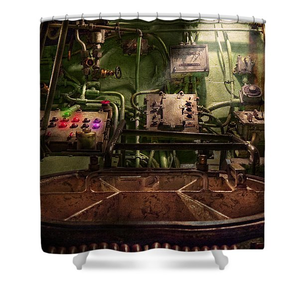 Steampunk - Naval - This is where I do my job Shower Curtain by Mike Savad
